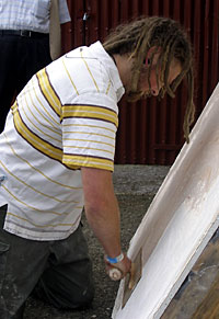photo : Polished 'Marmorino' plastering application - Introduction to Lime course